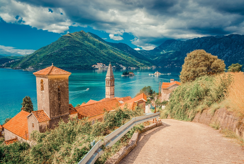 beautiful scenery by the lake in Montenegro surrounded by mountains