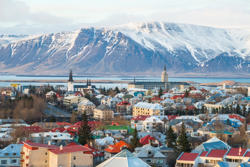 Colorful village in Iceland with a mountain view