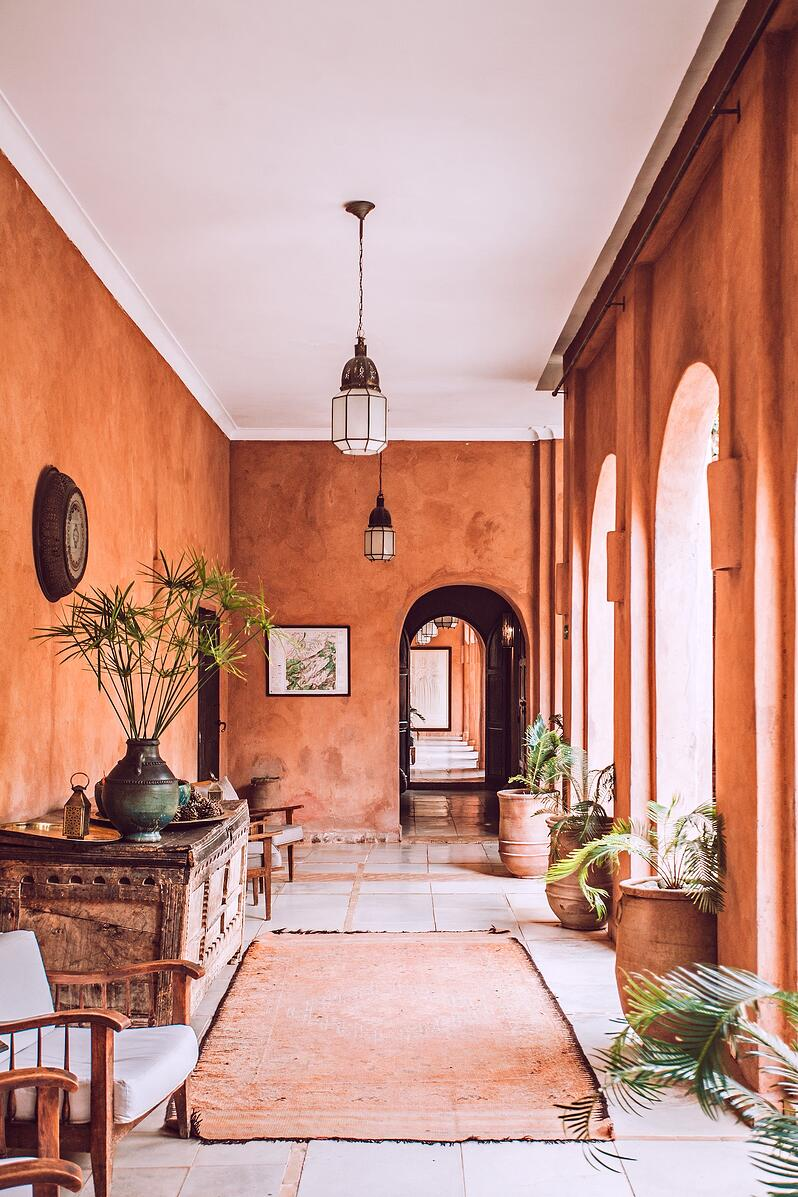 Morocco tasteful hall with plants and colored wall