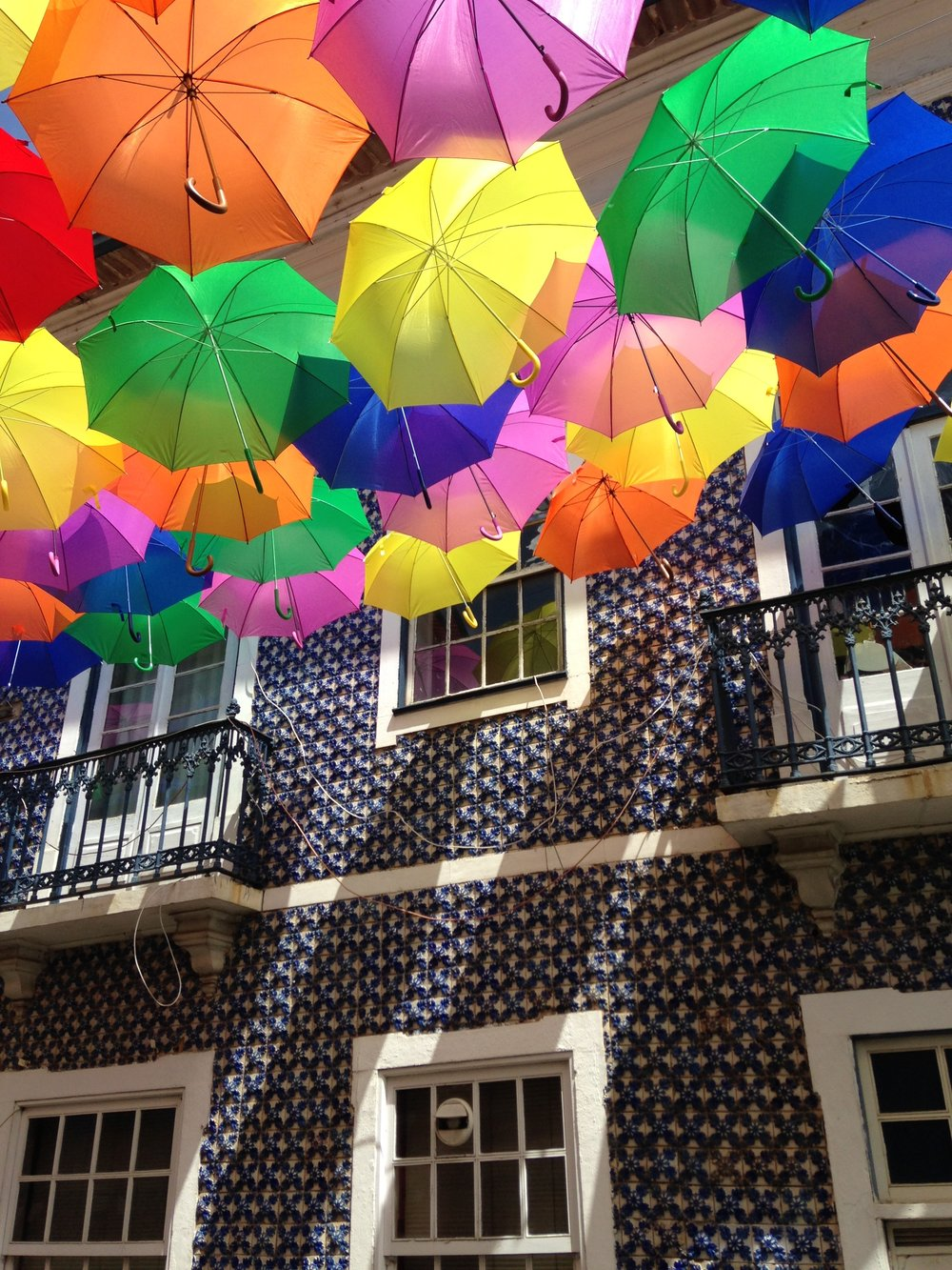 colorful umbrellas in portugal