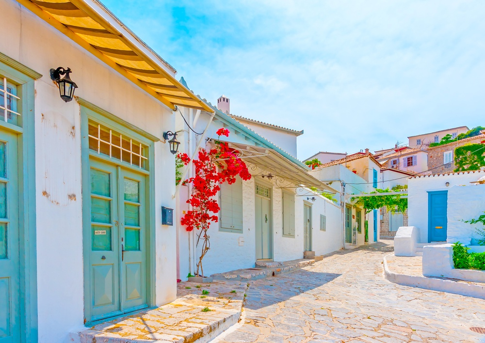 charming and picturesque street in Hydra, Greece