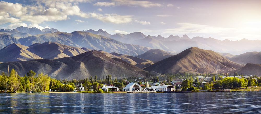 beautiful view in kyrgyzstan by a lake