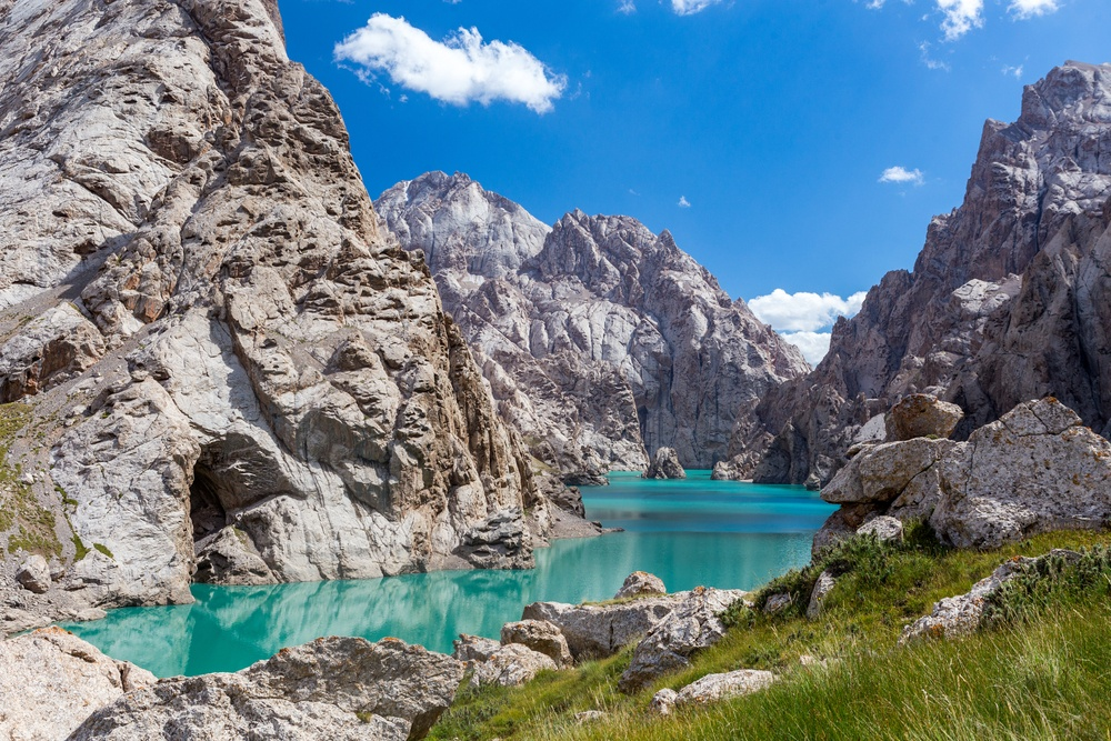 mountains and beautiful lake in Kyrgyzstan